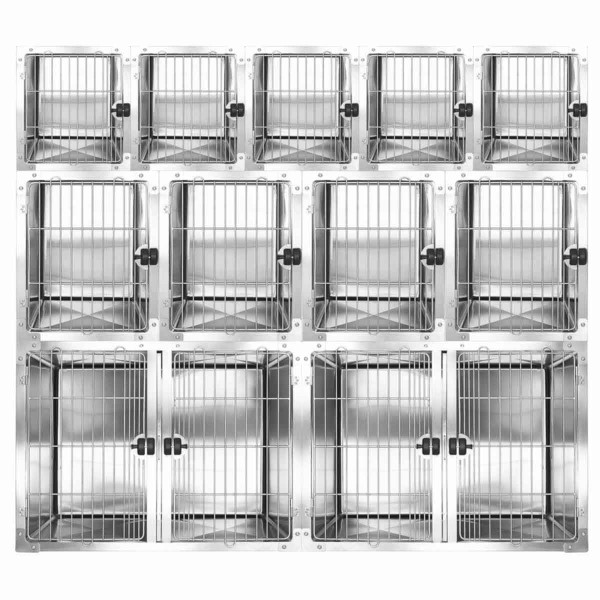 Full Bank Professional Stainless Steel Modular Dog Cage