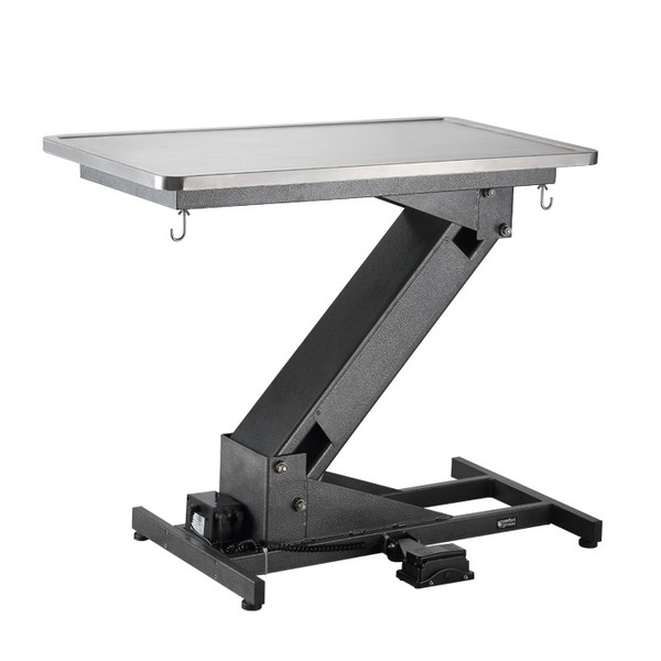 Side of extended ComfortGroom Ultra Low Z-Lift Electric Exam Table